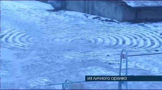 Странные круги на снегу засняли в Пензе на улице Кулибина