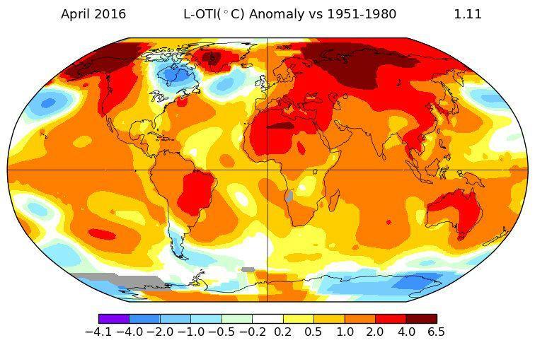 NASA зафиксировало пугающий температурный рекорд апреля 2016