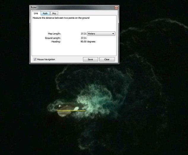 Карты Google вероятно засняли огромного 30-метрового кальмара  (4 фото)