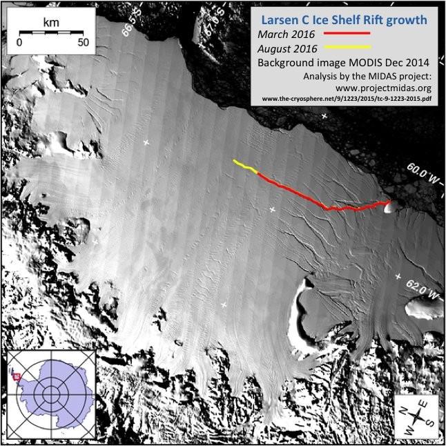 В Антарктиде обнаружили огромную трещину в крупном леднике ( фото)