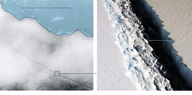 Крупнейший в истории айсберг отколется от антарктического ледника в течении ближайших месяцев (4 фото)
