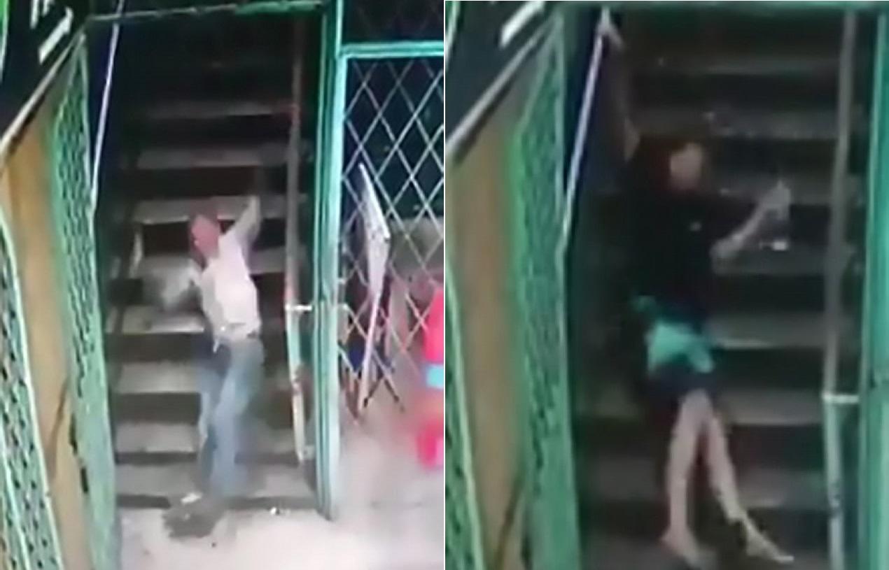 В Малайзии засняли видео, на котором люди внезапно падают с лестницы. Жители обвиняют нечистую силу