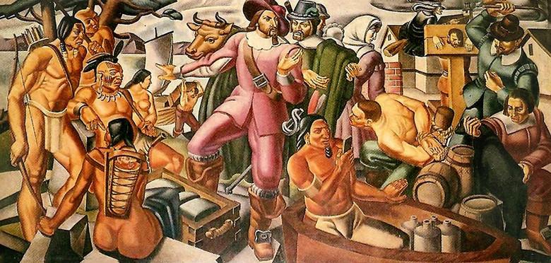 На картине с индейцами, написанной в 1937 году, обнаружили современный смартфон (2 фото)