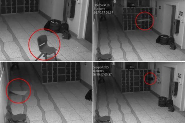 В школе ирландского города Корк снова засняли на видео проделки хулигана-невидимки