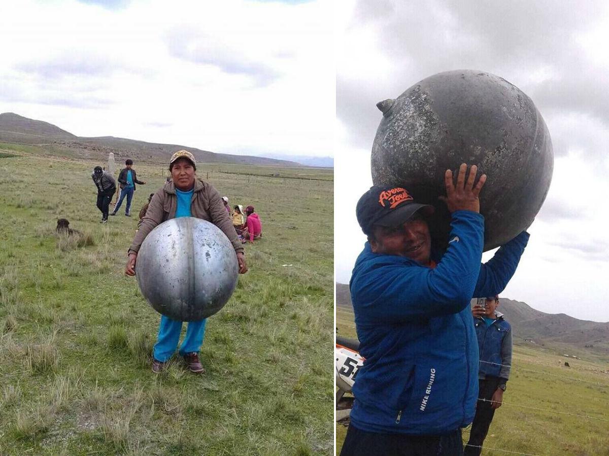 В Перу с неба упали металлические шары с русскими надписями