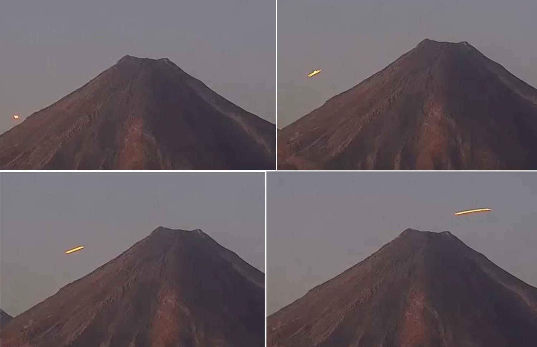 Сияющий желтым светом НЛО перелетел через мексиканский вулкан Колима