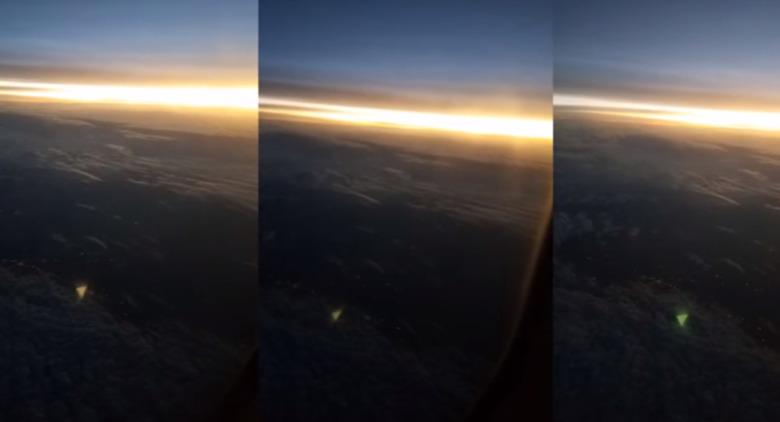Над Техасом с борта самолета засняли треугольный НЛО, меняющий цвет (3 фото)