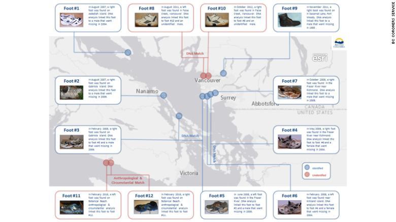 Загадка человеческих ступней: На берегу Британской Колумбии нашли уже 14-ю ногу в ботинке