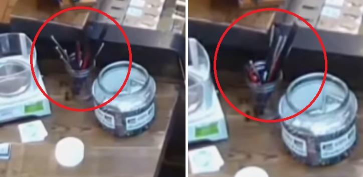 На камеру наблюдения в магазине Орегона записалось как невидимка двигает разные вещи
