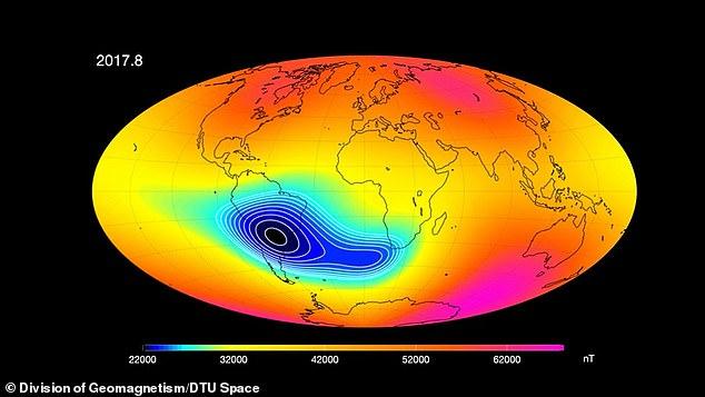 Магнитное поле Земли резко ослабло между Африкой и Южной Америкой
