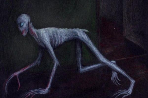 Крупное существо, похожее на живой скелет, до ужаса перепугало четырех друзей