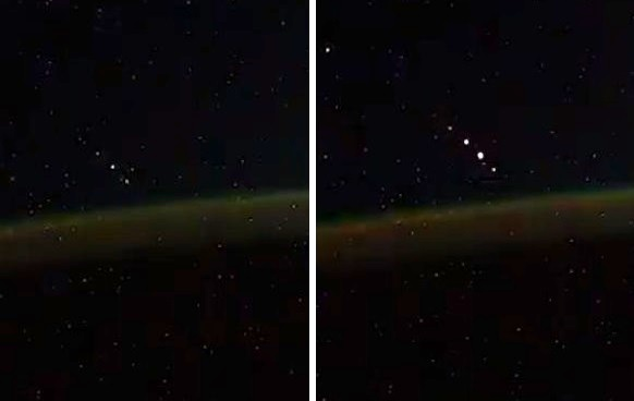 Российский космонавт заснял на видео вереницу НЛО, летящих ровно в ряд