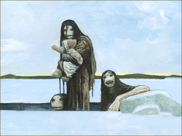 Монстр, утаскивающий под воду детей инуитов