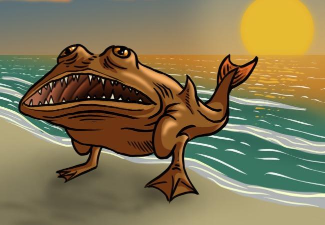 Неопознанные крупные рыбы с ногами, выброшенные на пляж острова Канви-Айленд