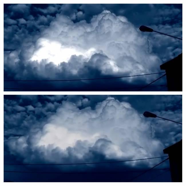 Сияющий объект внутри облака (Видео)