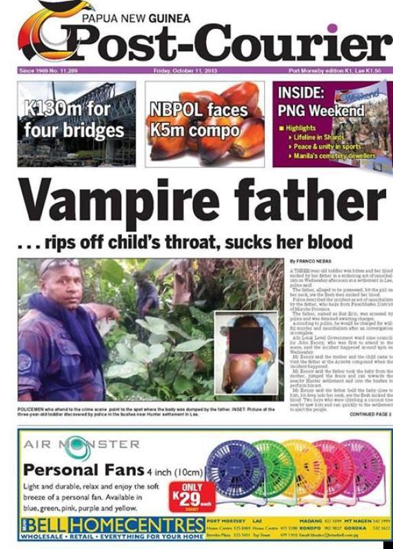 Отец-вампир из Папуа-Новой Гвинеи выпил кровь своей дочери