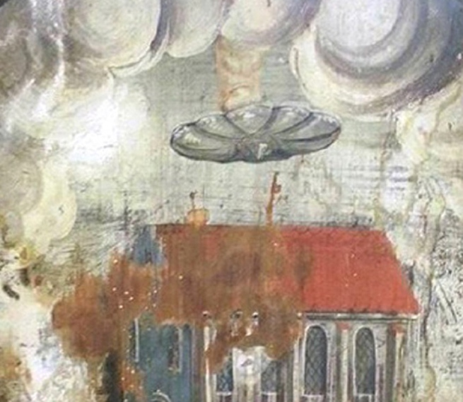 На фреске в Румынии обнаружили НЛО (4 фото)