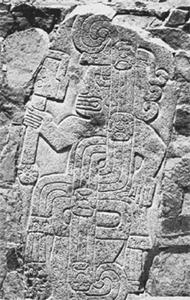 Фрагмент рельефа в храме Серро-Сечин